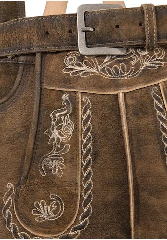 Marjo Trachtenlederhose 3/4 - lang Herren mit traditioneller Stickerei kaufen