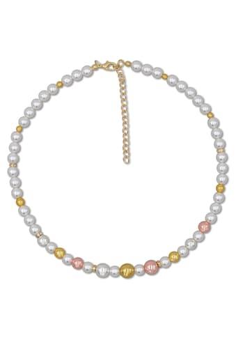 J.Jayz Collier »Perlenkette in Tricolor-Optik«, mit Kunststoffperlen und Glassteinen kaufen