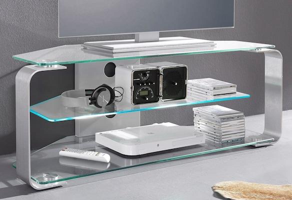 modernes TV-Regal aus Glas