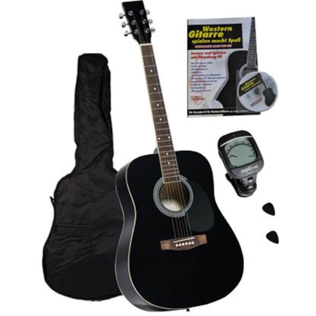Clifton Westerngitarre »Dreadnought Gitarre mit Stimmgerät,Tasche, Heft und CD«, 4/4, Komplettset