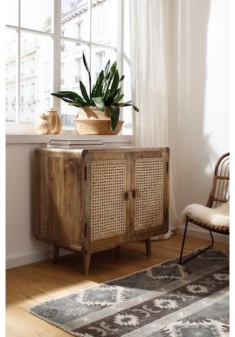 Home affaire Sideboard »Snug«, aus Rattan-Geflecht und massivem Mangoholz, schöne abgerundete Ecken, Breite 81 cm kaufen