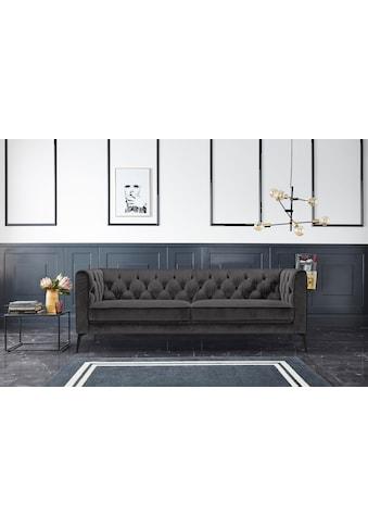 Leonique Chesterfield-Sofa »Narmada«, mit dekorativer Knopfheftung im Rückenteil und an den hohen Armlehnen, mit schlanken Metallbeinen, im Chesterfield-Design kaufen
