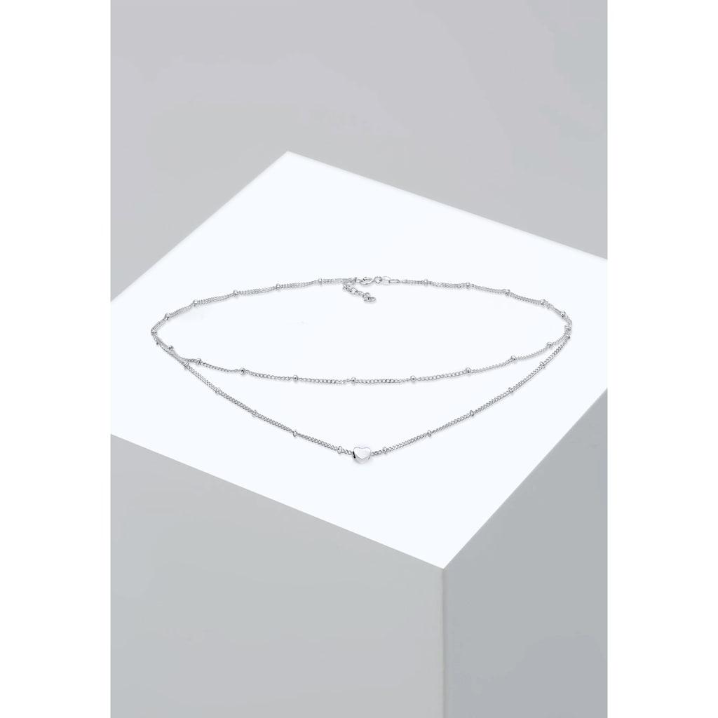Elli Collierkettchen »Choker Layer Kugelkette Herz 925 Silber«