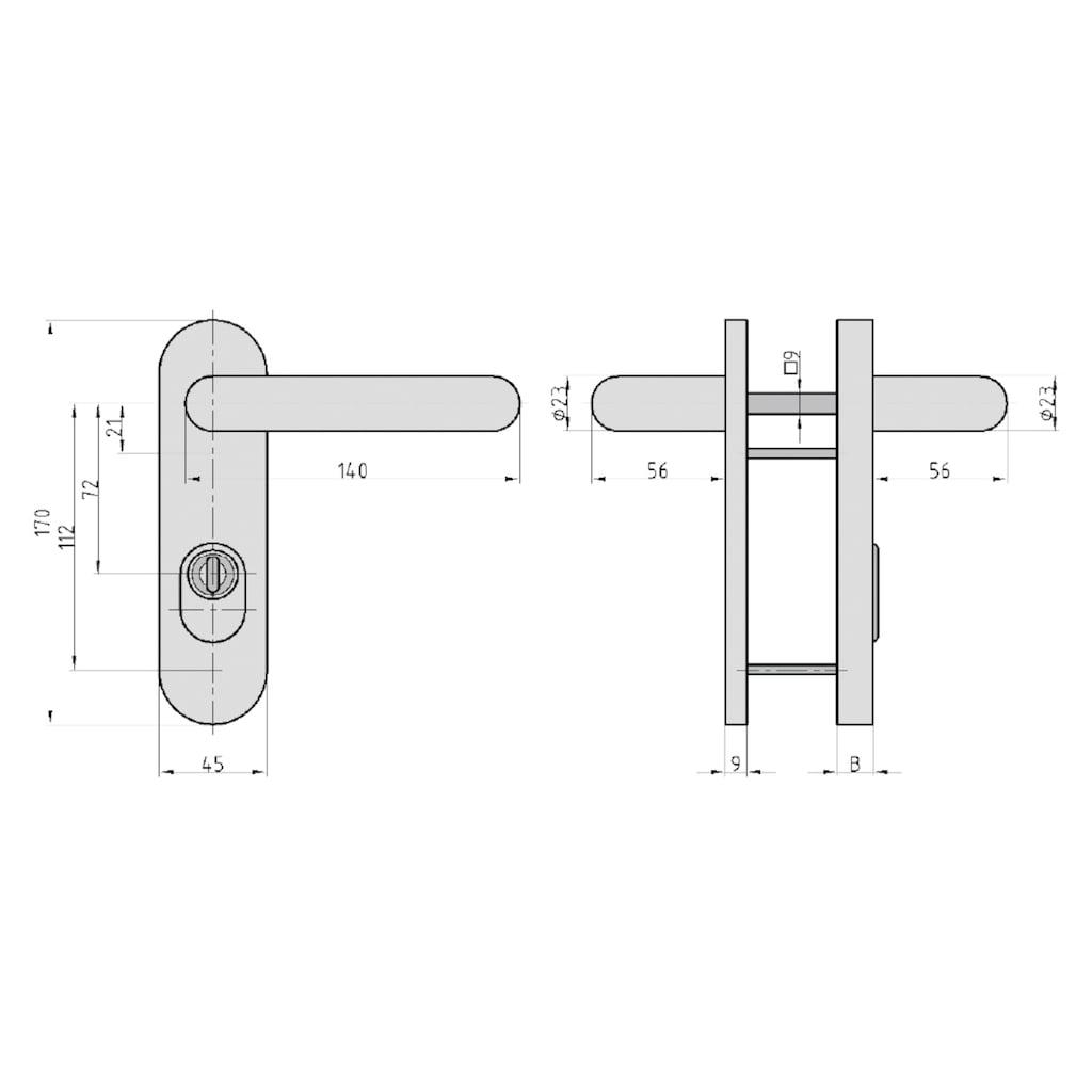 BASI Türbeschlag »SB/FS 2200K - ES1 ZA«, rund