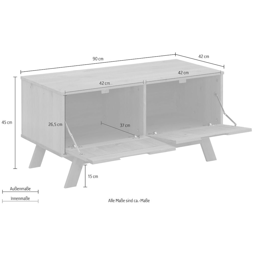 Home affaire Sitzbank »Ohio«, aus massivem Kiefernholz, mit eingefrästen Griffmulden, Breite 90 cm