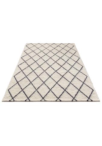 my home Wollteppich »Lior«, rechteckig, 10 mm Höhe, reine Wolle, top Qualität, Rauten... kaufen