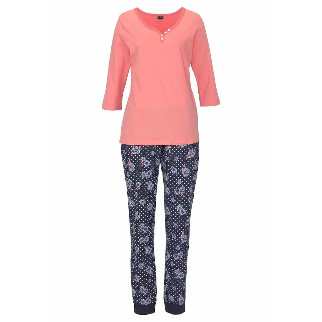 H.I.S Pyjama, mit 3/4-Arm und Knopfleiste