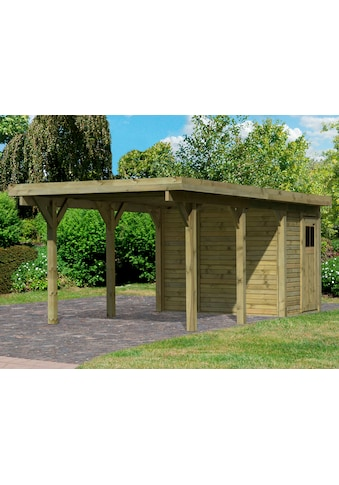 Karibu Einzelcarport »Classic 2«, Holz, 250 cm, natur, mit Geräteraum kaufen