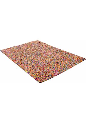 THEKO Wollteppich »Ballo«, rechteckig, 22 mm Höhe, Filzkugel-Teppich, reine Wolle, handgefertigt, Wohnzimmer kaufen