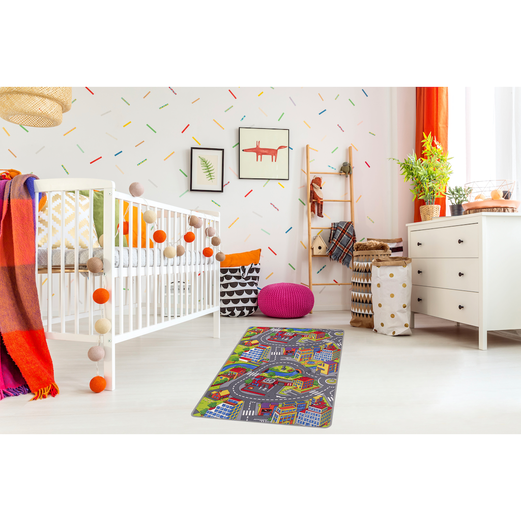 Andiamo Kinderteppich »Straße«, rechteckig, 5 mm Höhe, Straßen-Spielteppich, Straßenbreite: 8,5 cm, Kundenliebling mit 4,5 Sterne-Bewertung