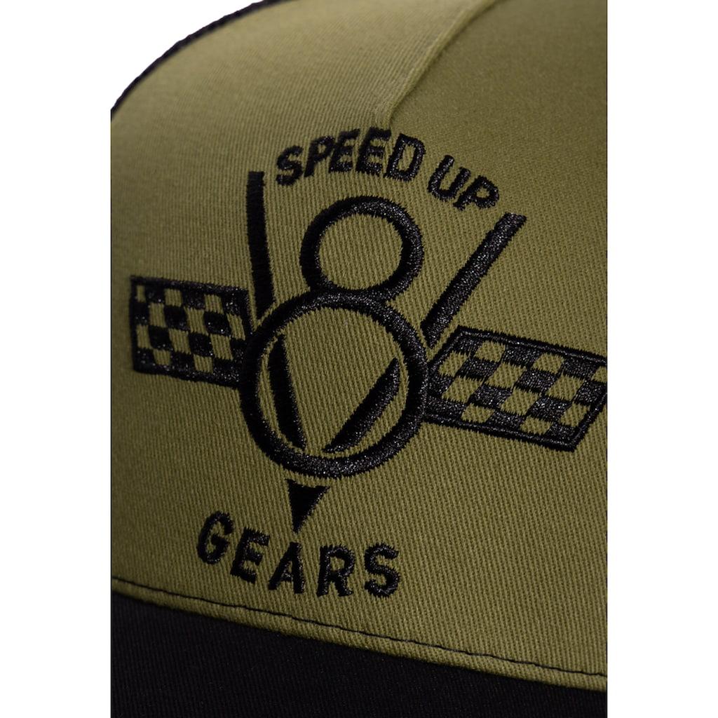 KingKerosin Trucker Cap »Speed Up Gears«, mit Front-Stickerei und seitlichem Patch