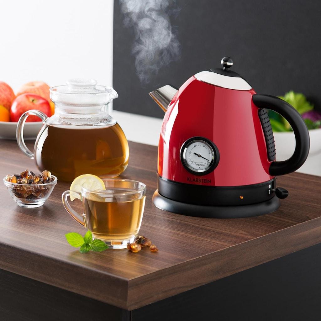 Klarstein Wasserkocher Teekessel 1,5l 2200W Thermometer rot