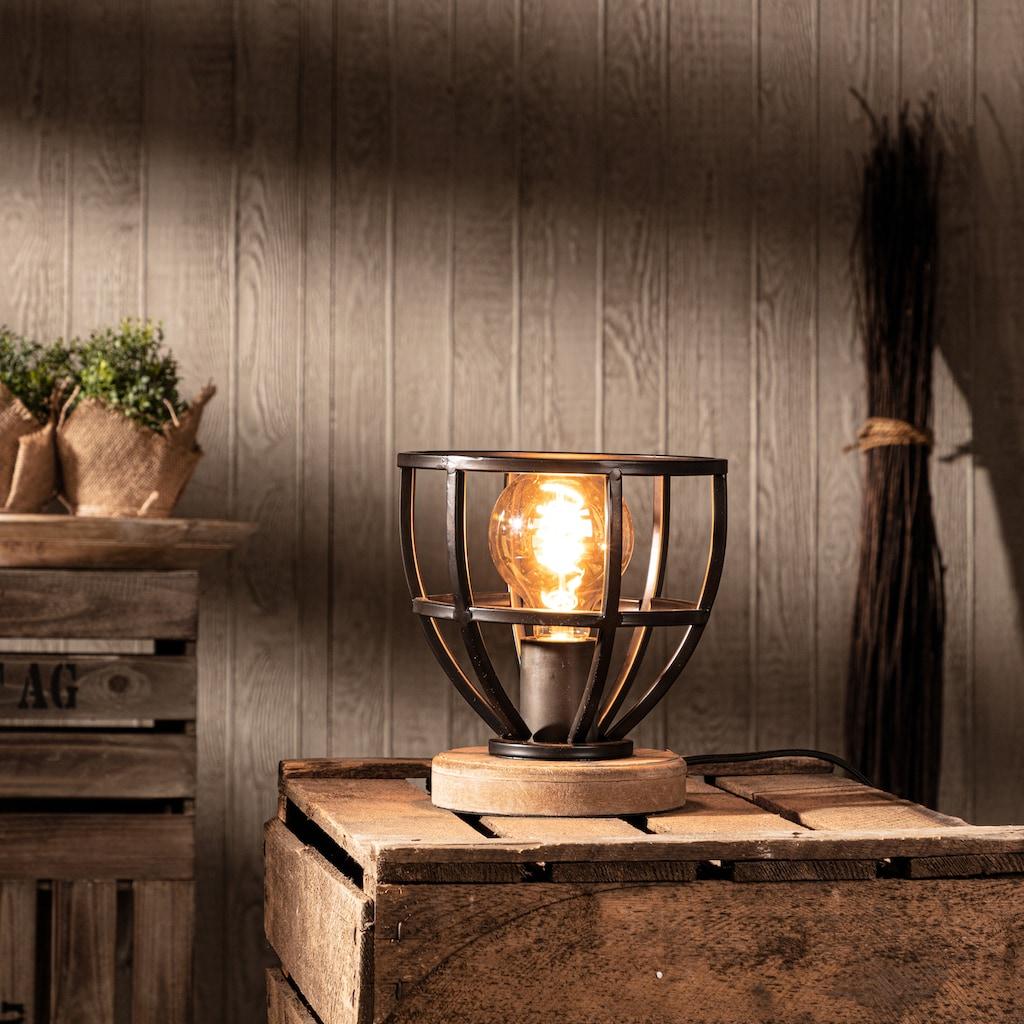 Brilliant Leuchten Matrix Wood Tischleuchte 18cm schwarz antik