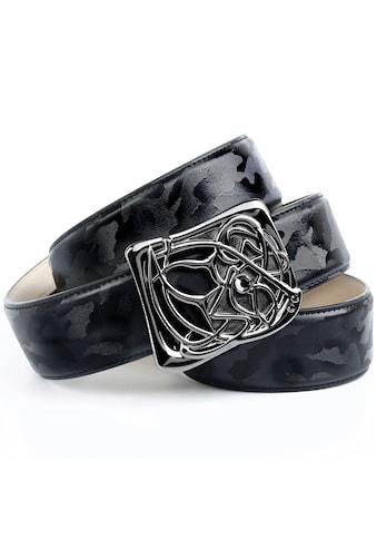 Anthoni Crown Ledergürtel, Jeansgürtel mit Designer-Schließe, auffällig Prägung kaufen