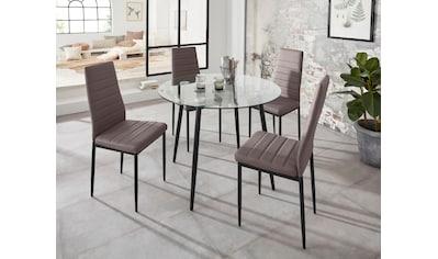 my home Essgruppe »Danny + Sandy«, (Set, 5 tlg.), runder Glastisch, Ø 100 cm und 4 Esszimmerstühlen, Bezug aus Kunstleder kaufen