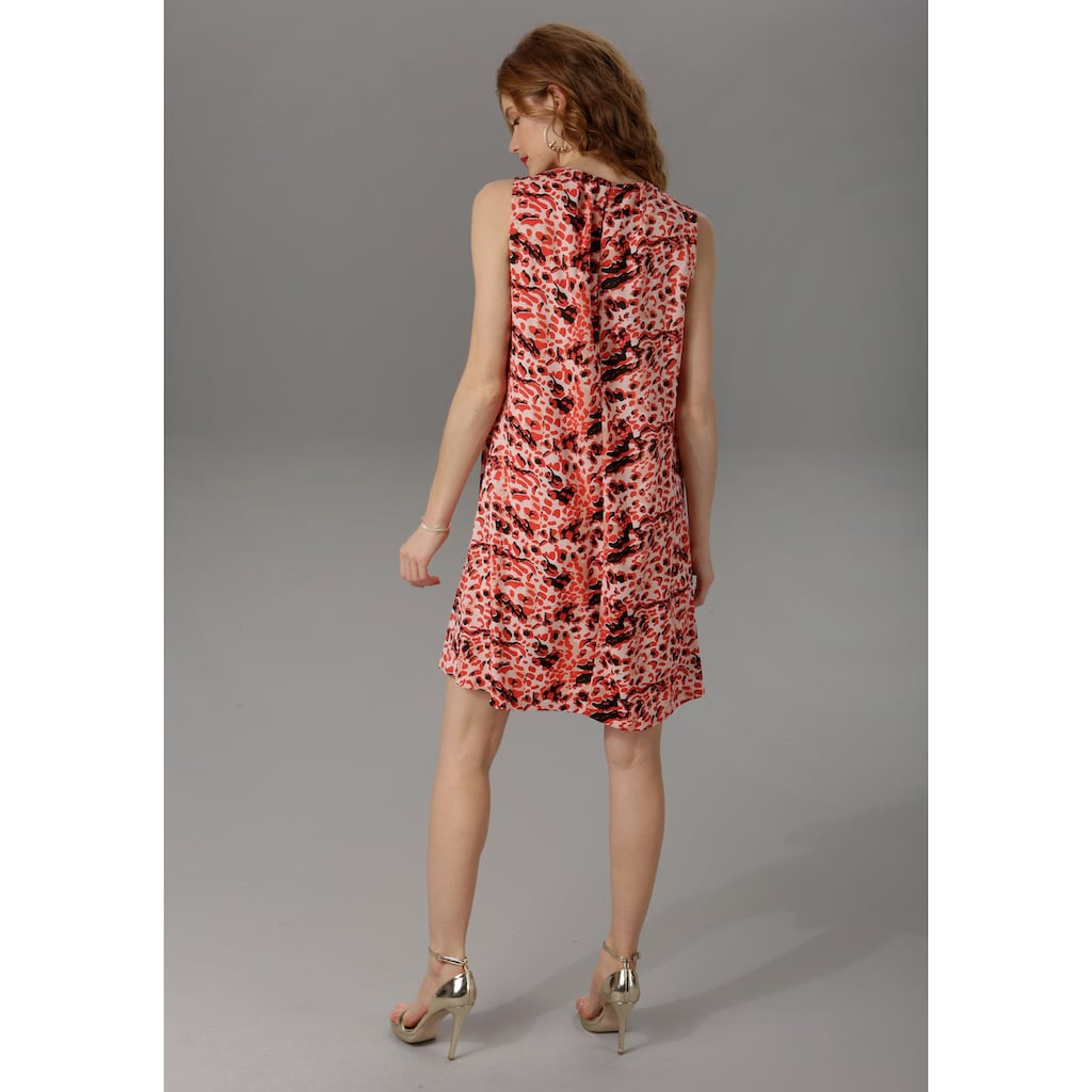 Aniston CASUAL Sommerkleid, im rot-schwarzem Animal Print