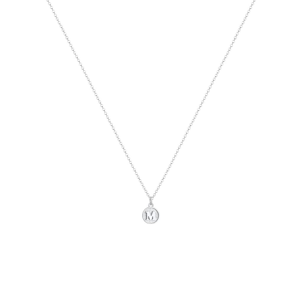 Elli Collierkettchen »Buchstabe M Initialen Vintage Plättchen 925 Silber«