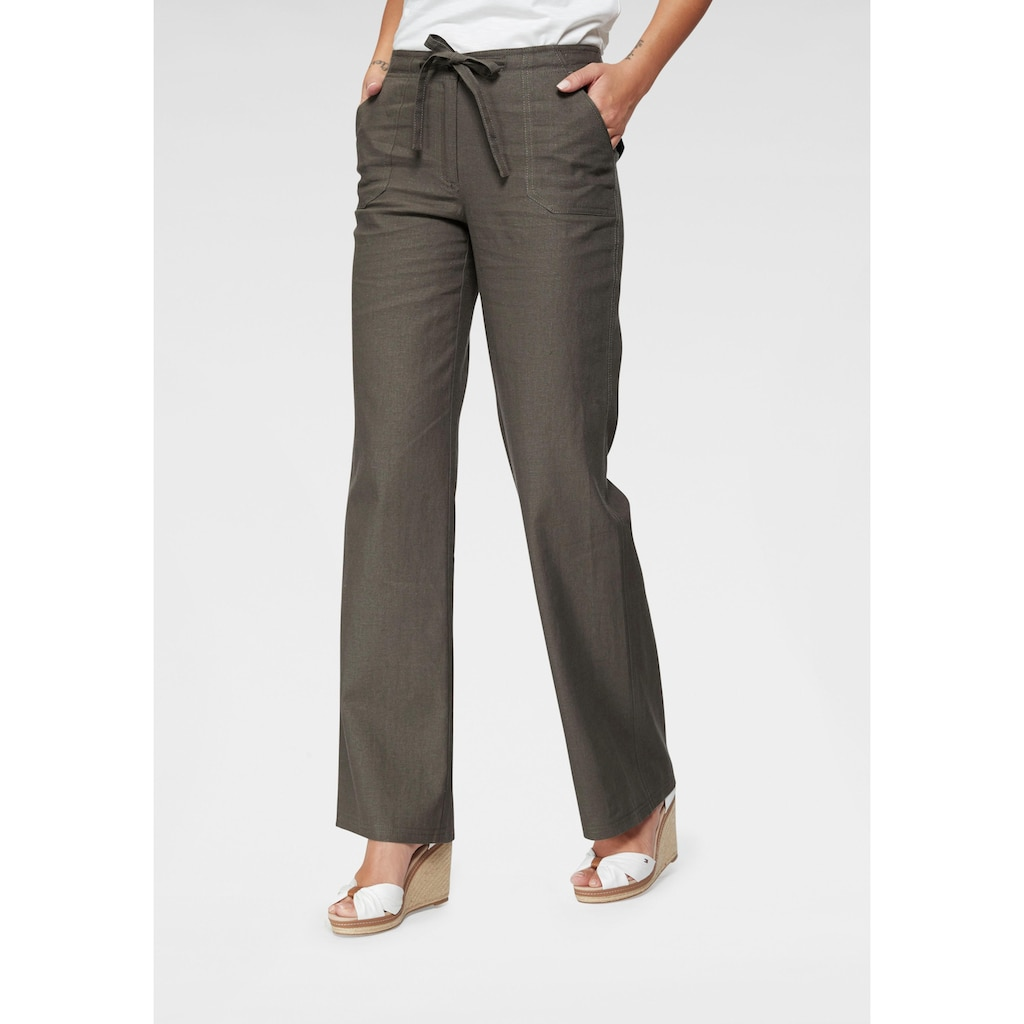 Aniston CASUAL Leinenhose, mit Bindeband