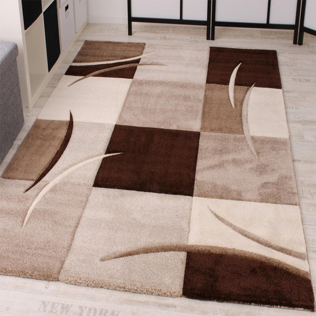 Paco Home Teppich »Diamond 665«, rechteckig, 17 mm Höhe, 3D-Design, Kurzflor mit Karo-Muster, Wohnzimmer