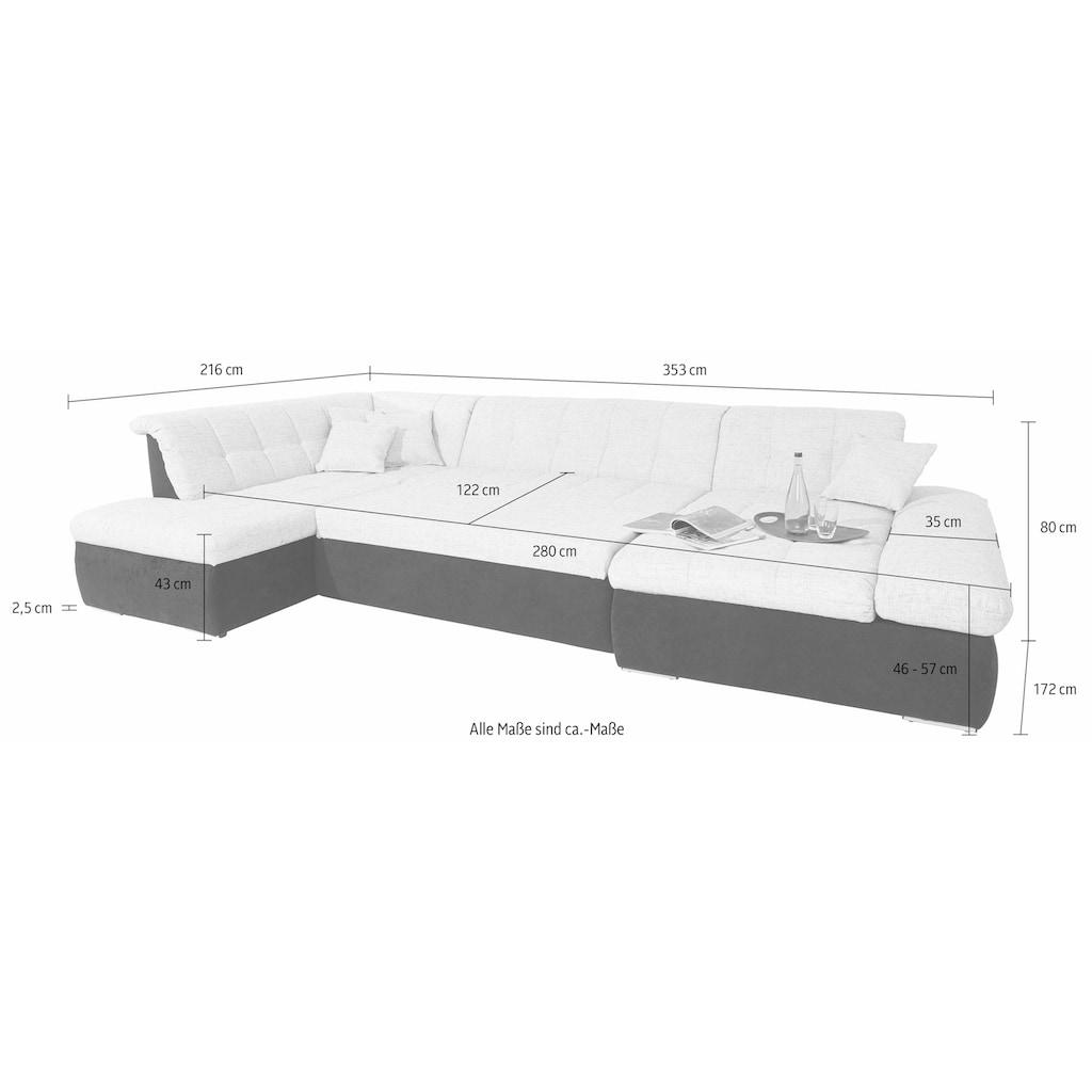 DOMO collection Wohnlandschaft, XXL, wahlweise mit Bettfunktion und Armteilverstellung, frei im Raum stellbar