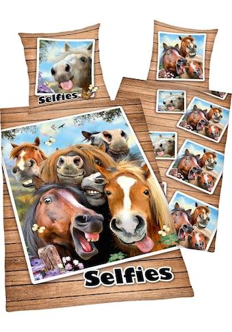 Kinderbettwäsche »Selfies Pferde«, mit Pferdeköpfen kaufen