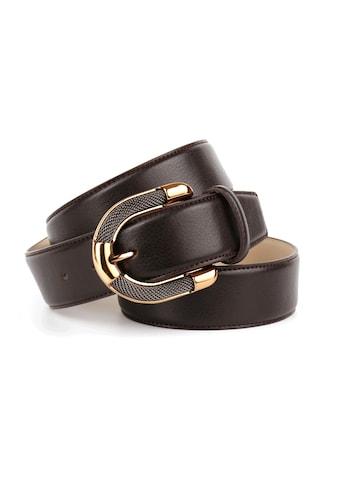Anthoni Crown Ledergürtel, mit aufwendiger Schmuck-Schließe, Steppnähte kaufen