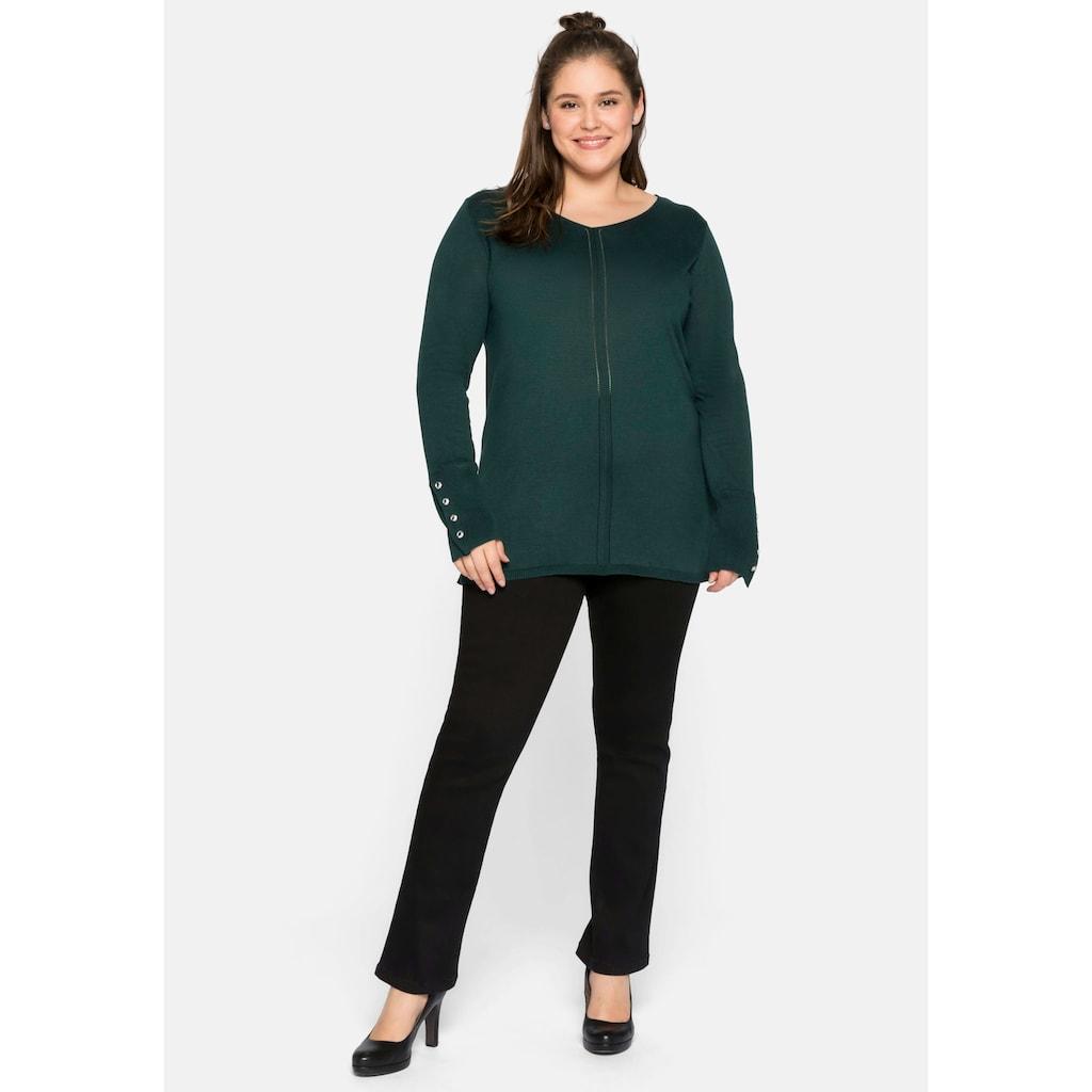Sheego V-Ausschnitt-Pullover, aus Feinstrick