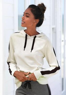 Damen Hoodie in Weiß mit schwarzen Streifen an den Ärmeln