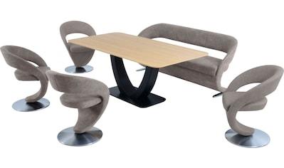 K+W Komfort & Wohnen Essgruppe »Wave«, (Set), Design-Solobank mit 4 Design-Drehstühlen und Tisch in 180x90cm kaufen