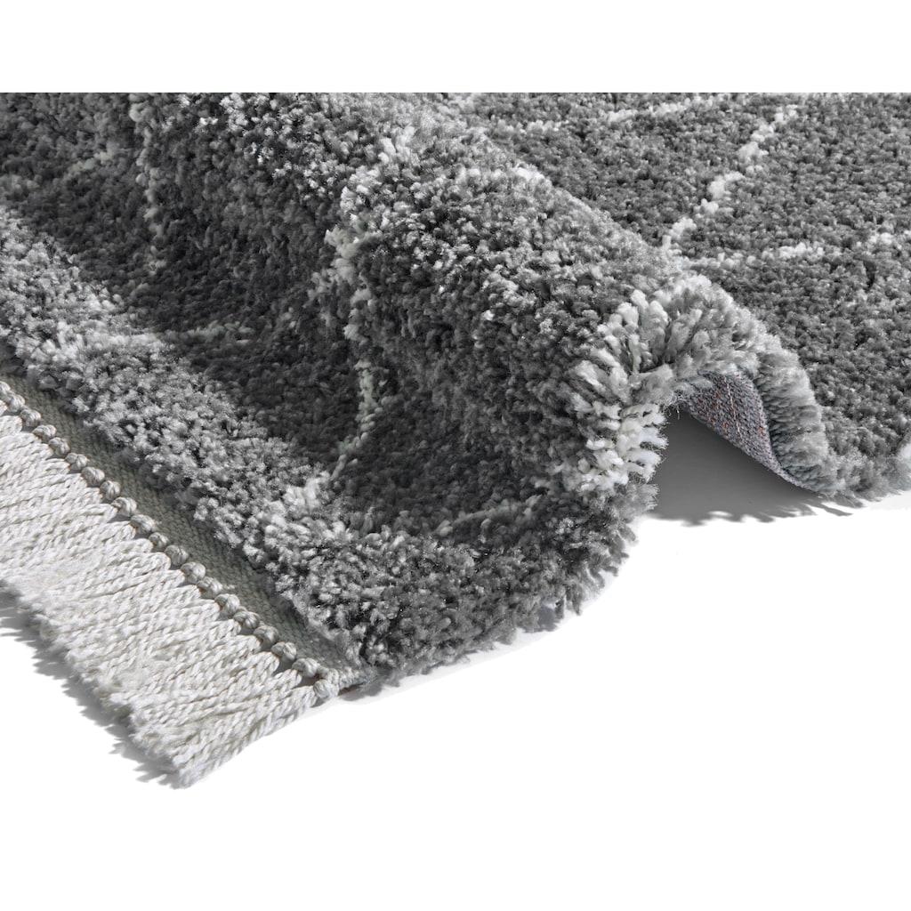 MINT RUGS Hochflor-Teppich »Jade«, rechteckig, 35 mm Höhe, Pastell-Farben mit Fransen, Rauten Design, Wohnzimmer