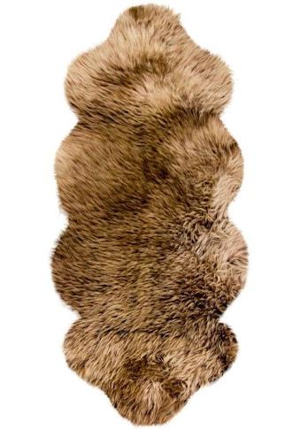 Heitmann Felle Fellteppich »Lammfell KK 1,5«, fellförmig, 70 mm Höhe, echtes Austral. Lammfell, Farbe braun mit hellbraunen Spitzen, Wohnzimmer kaufen
