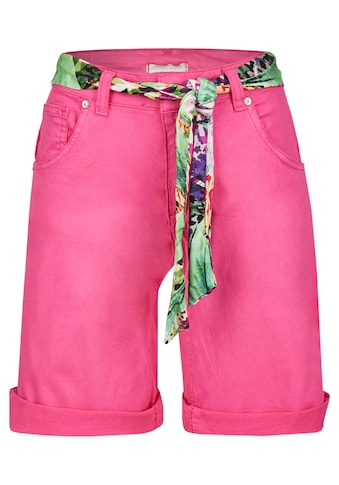 Heimatliebe Colourdenim Shorts mit geblümtem Gürtel kaufen