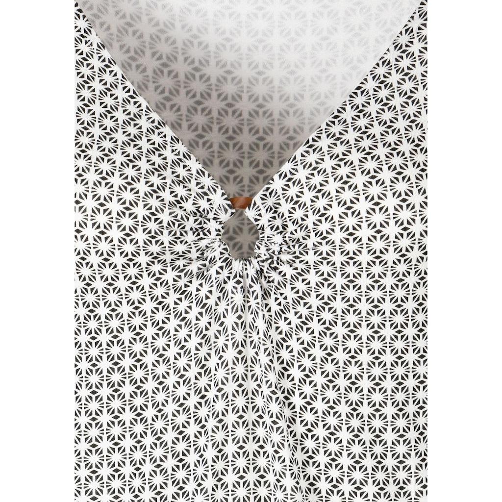 LASCANA T-Shirt, mit Ringeinsatz in Hornoptik vorn