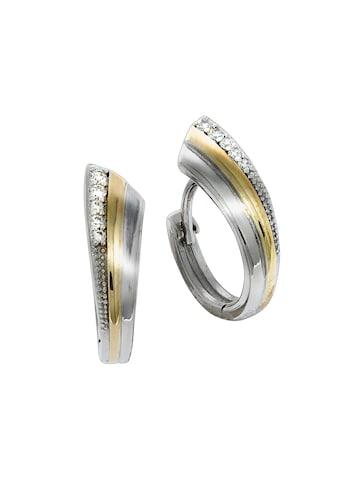 Vivance Klappcreolen »925/- Sterling Silber vergoldet Zirkonia«, rhodiniert + teilvergoldet kaufen