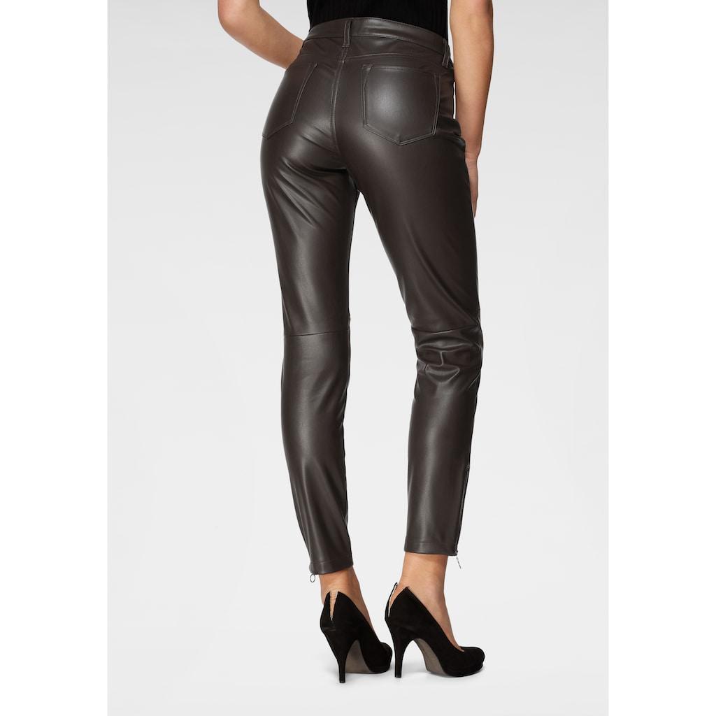 MAC 7/8-Jeans »Slim leather zip«, Lederimitat mit typischen Teilungsnähten
