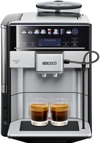 SIEMENS Kaffeevollautomat »EQ.6 plus s700 TE657503DE«, automatische Reinigung, zwei Tassen gleichzeitig, 4 individuelle Profile, beleuchtetes Tassenpodest, Edelstahl kaufen