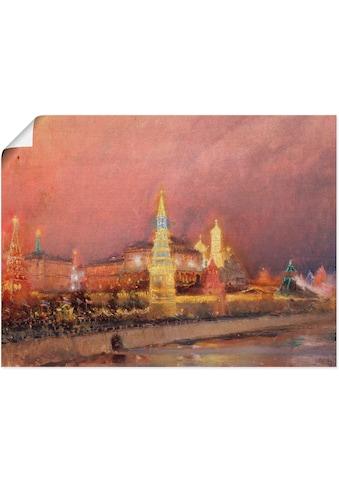 Artland Wandbild »Der beleuchtete Kreml in Moskau. 1896«, Gebäude, (1 St.), in vielen Größen & Produktarten -Leinwandbild, Poster, Wandaufkleber / Wandtattoo auch für Badezimmer geeignet kaufen