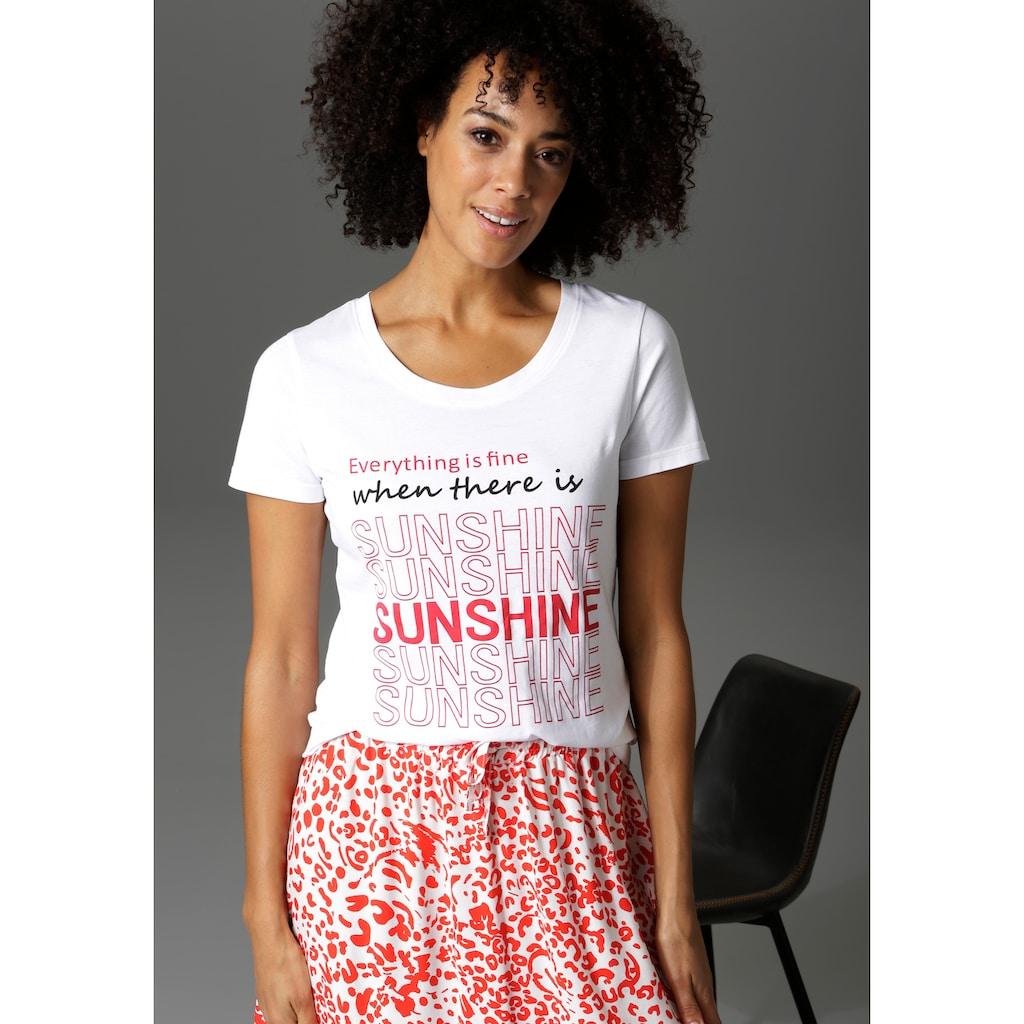 Aniston CASUAL T-Shirt, mit Statement-Schriftzug - NEUE KOLLEKTION