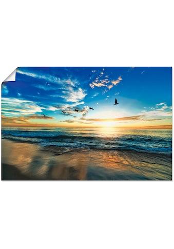 Artland Wandbild »Strand Möwen Meer Sonnenuntergang«, Sonnenaufgang & -untergang, (1 St.), in vielen Größen & Produktarten - Alubild / Outdoorbild für den Außenbereich, Leinwandbild, Poster, Wandaufkleber / Wandtattoo auch für Badezimmer geeignet kaufen