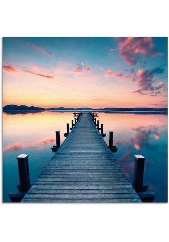 Artland Glasbild »Langer Pier am See im Sonnenaufgang«, Gewässer, (1 St.) kaufen