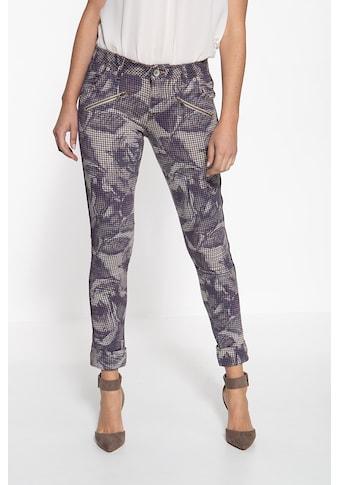 ATT Jeans Stretch-Hose »Lola«, mit Hahnentrittmuster und floralen Akzenten kaufen