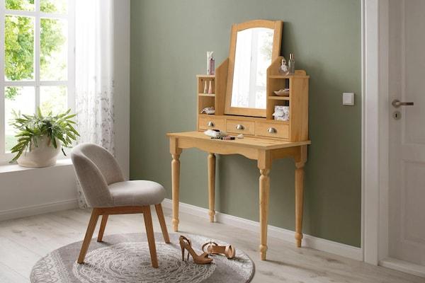 Holz-Schminktisch mit verschnörkelten Elementen