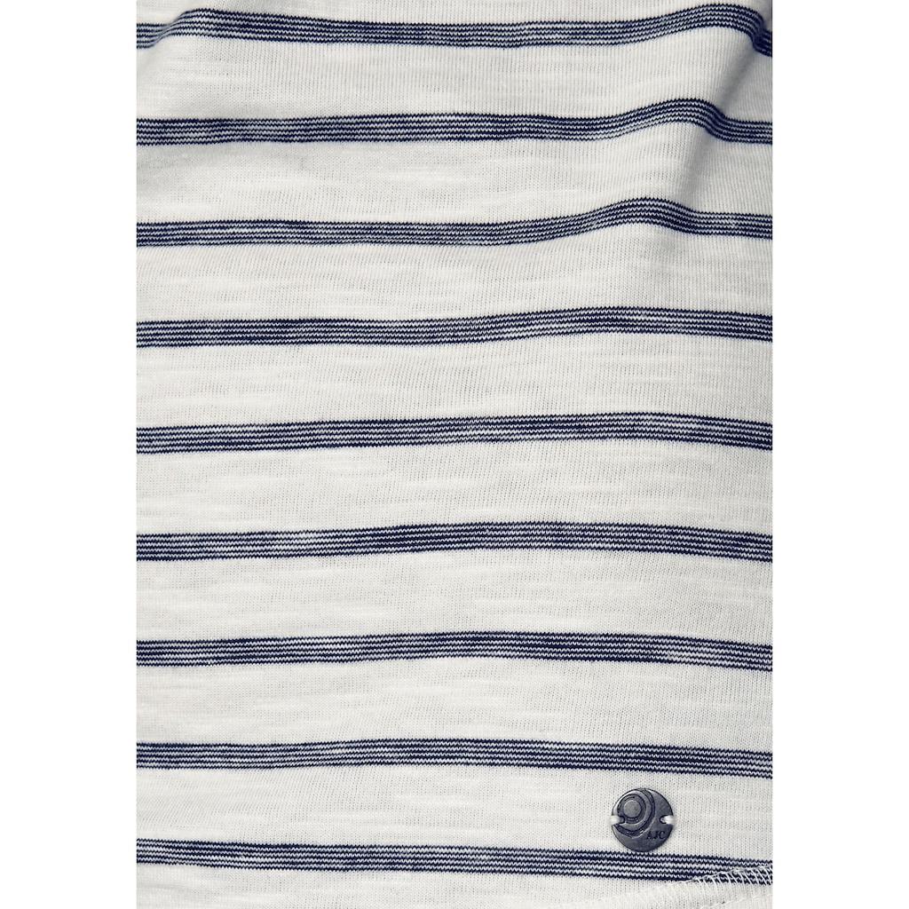 AJC Langarmshirt, mit Streifen und Schalkragen