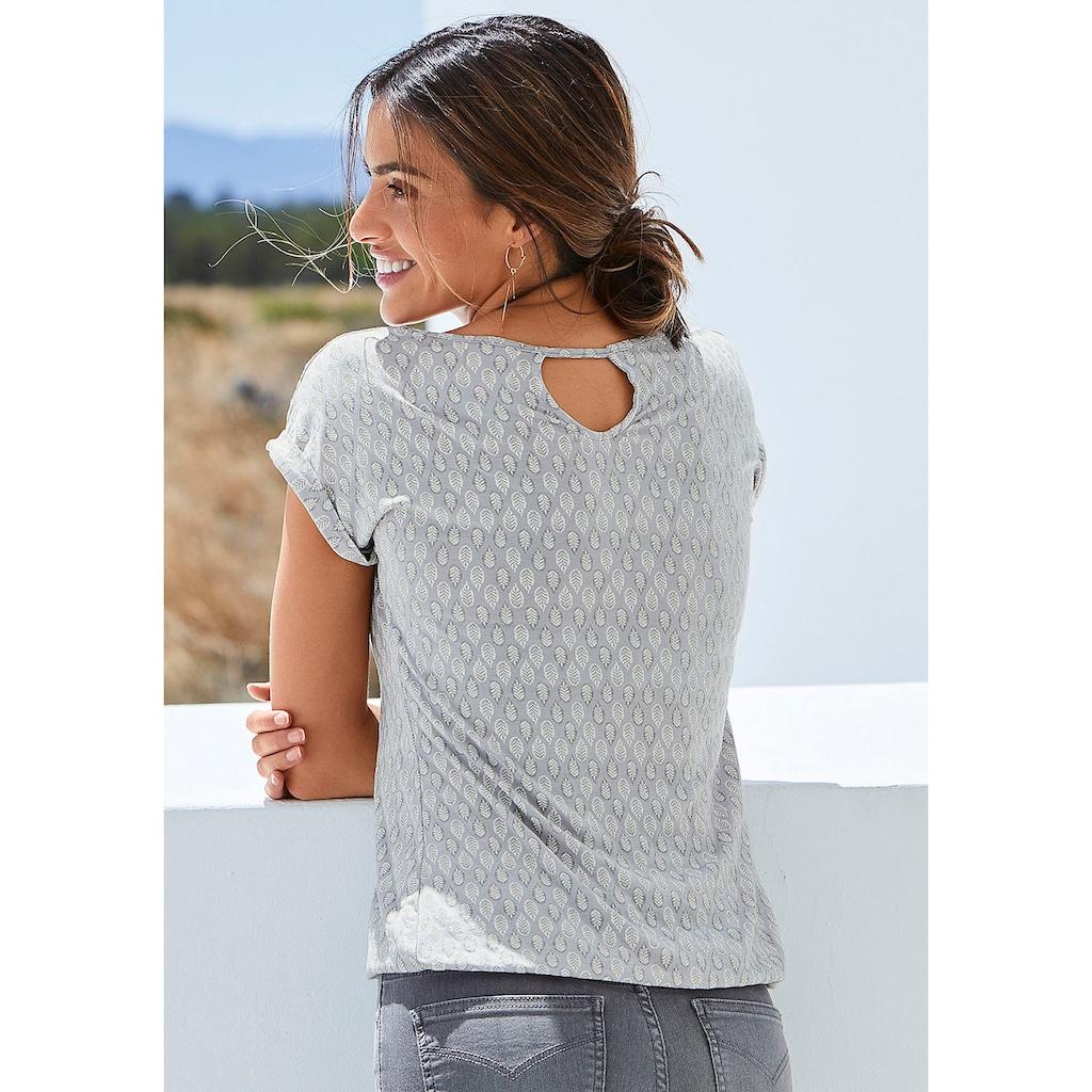 LASCANA T-Shirt, mit kleinen Ärmelaufschlägen