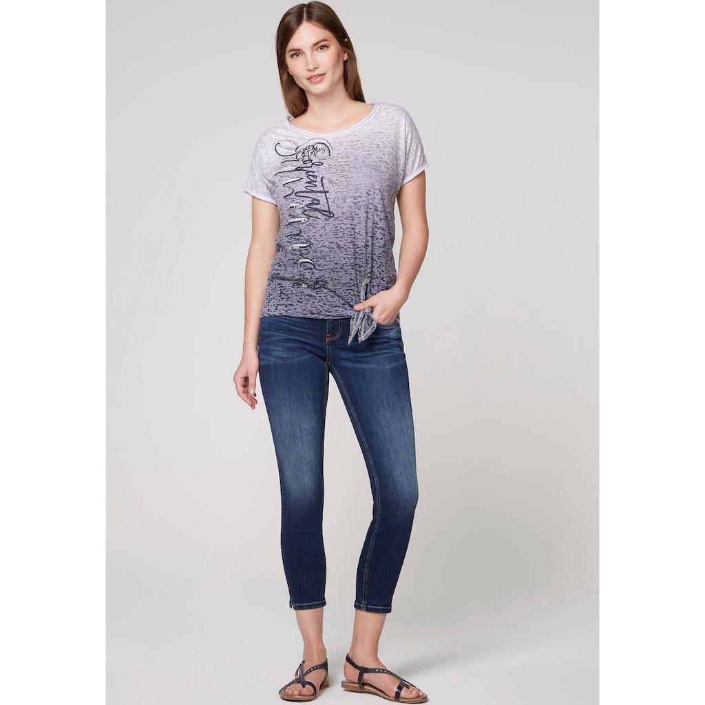 SOCCX T-Shirt, mit vertikalem Schriftzug und Pailletten vorne