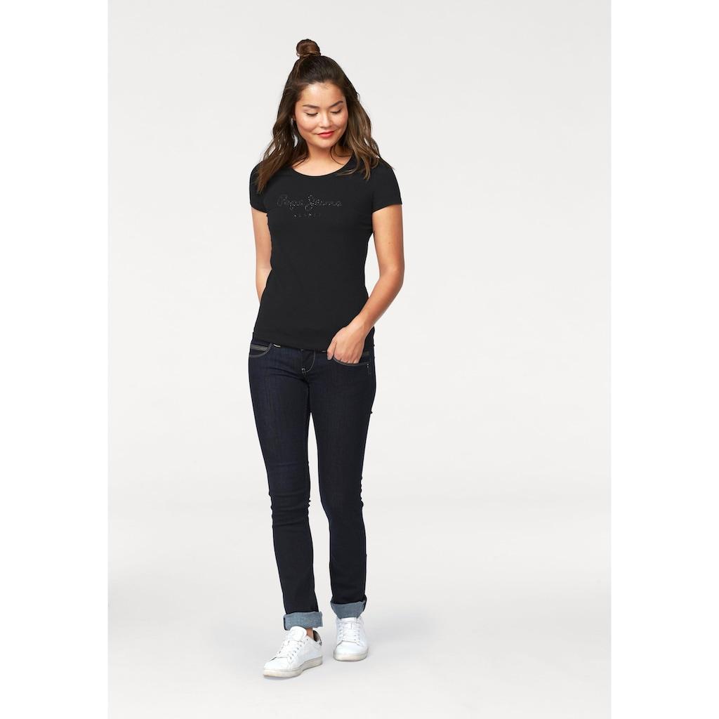 Pepe Jeans Gerade Jeans »VENUS«, Straight Passform mit niedrigem Doppel-Knopf-Bund und doppelter Gesäßtasche in tollem Komfort Stretch Denim