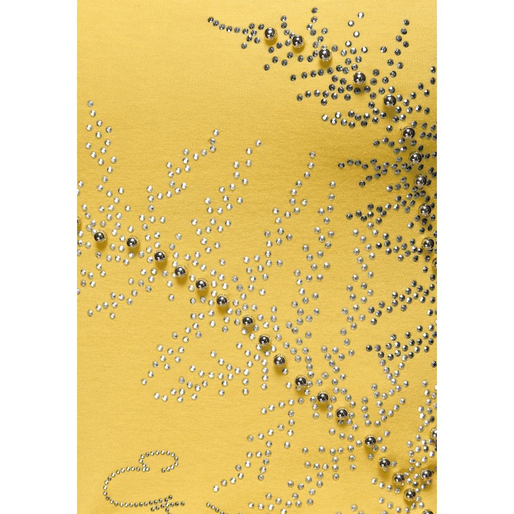 Melrose Rundhalsshirt, mit Perlen und Glitzersteinen