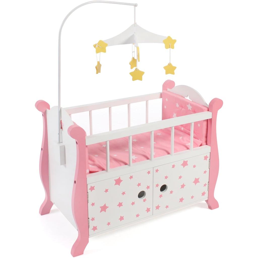 CHIC2000 Puppenbett »Stars Pink«, aus Holz mit Mobile