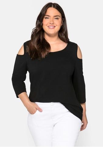 sheego by Joe Browns 3/4-Arm-Shirt, mit 3/4-Ärmeln und offenen Schultern kaufen