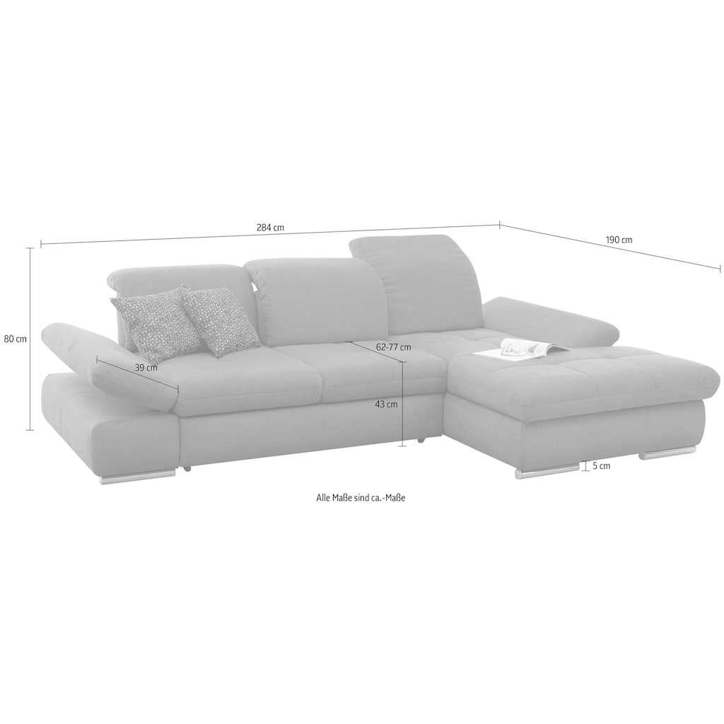 set one by Musterring Ecksofa »SO 4100«, Recamiere links oder rechts, wahlweise mit Bettfunktion